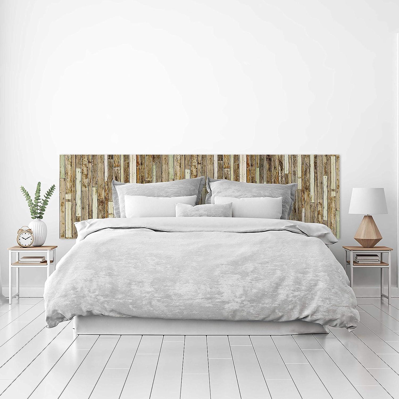 MEGADECOR Cabecero Cama PVC Decorativo Económico Textura Madera Tablas Viejas Unidas Varios Tamaños (200 cm x 60 cm)