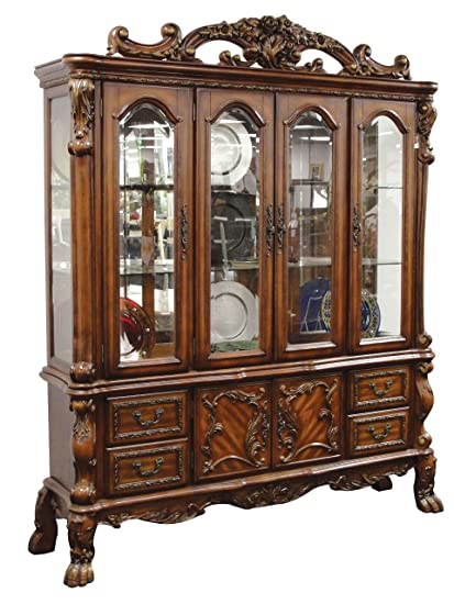amazon com acme 12155 dresden hutch and buffet cherry oak finish rh amazon com china cabinet buffet and hutch cherry china cabinet and buffet