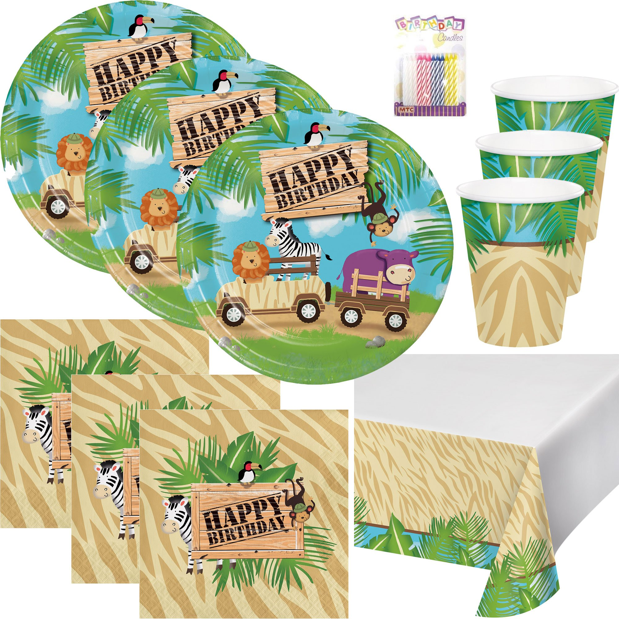 Safari Adventure 1st Birthday Party Supplies Pack (Serves-16) Dinner Plates Luncheon Napkins Cups and Tablecloth - Jungle Safari Supply Tableware Set Kit Include Birthday Candles