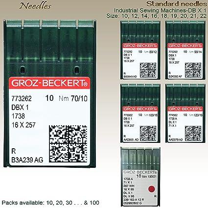GROZ-BECKERT Agujas para máquina de coser industriales estándar nm 90/10, 12, 14, 16, 18, 20 y 22 (nm-130/21): Amazon.es: Hogar