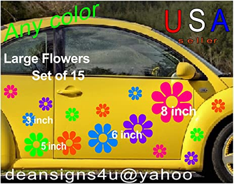 Large flowers set 15 10 free usa decal stickers car boat truck van golf cart