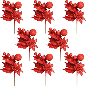 Christmas Picks 8 Piece Set, Glitter Christmas Artificial Flower Pinecone Berries and Leave, DIY for Christmas Decoration and Home Decor (Red)