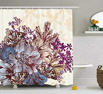 Ambesonne Floral Shower Curtain By Hand Drawn Pastel Color Flowers With Butterflies Vintage Detailed Image