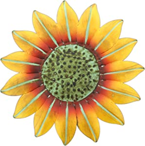 "Mayrich 10"" Bright Yellow Metal Sunflower Wall Plaque Indoor/Outdoor Decor"