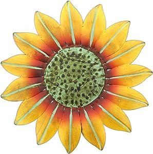 "Mayrich 10"" Bright Yellow Metal Sunflower Wall Plaque Indoor/Outdoor Decor"