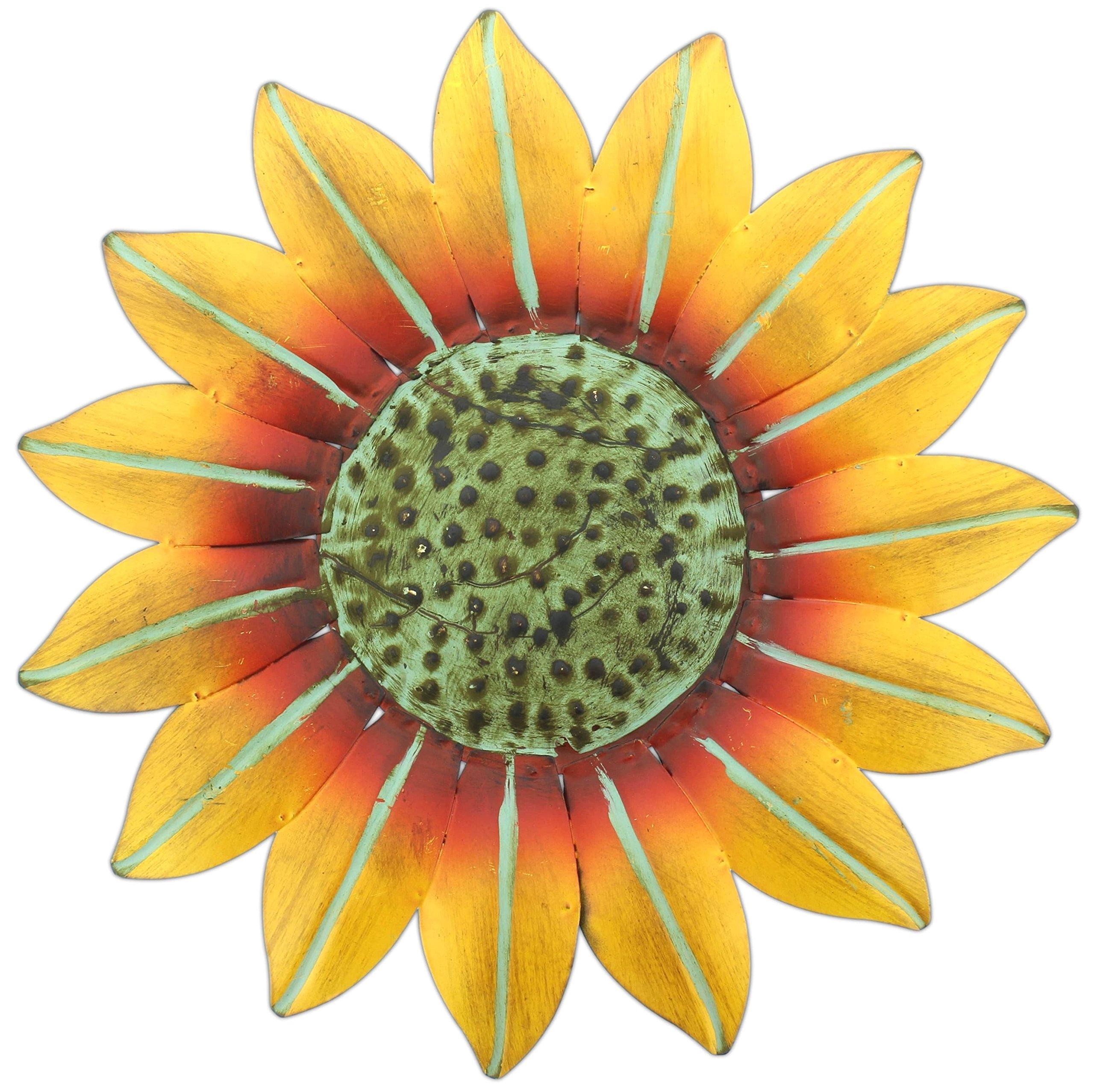Mayrich 10'' Bright Yellow Metal Sunflower Wall Plaque Indoor/Outdoor Decor