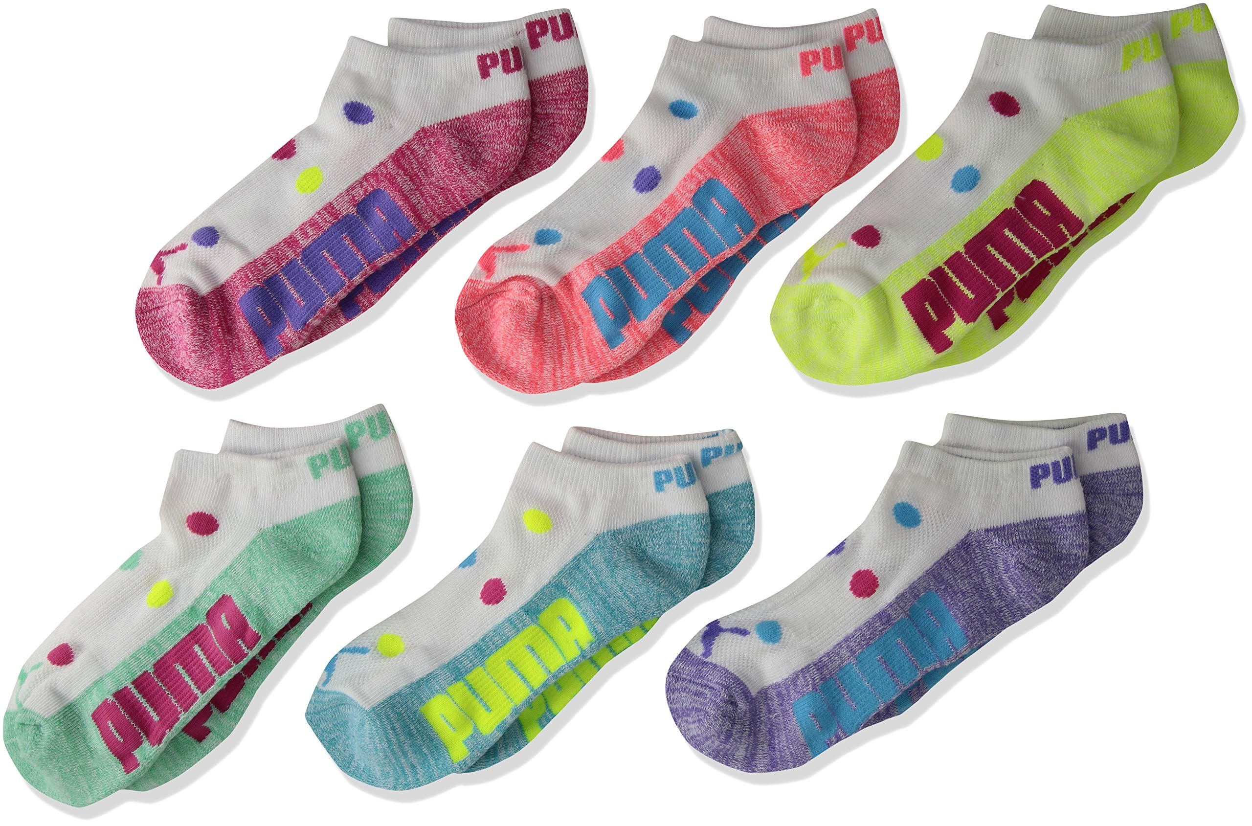 PUMA Big Girls' 6 Pack Low Cut Socks, Bright Combo, 9-11 by PUMA