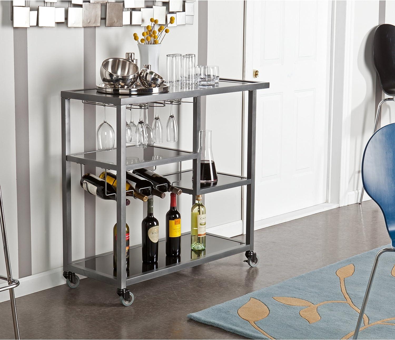 Zephs Rolling Bar Cart – Locking Castor Wheels – Gunmetal Finish w Black Tempered Glass
