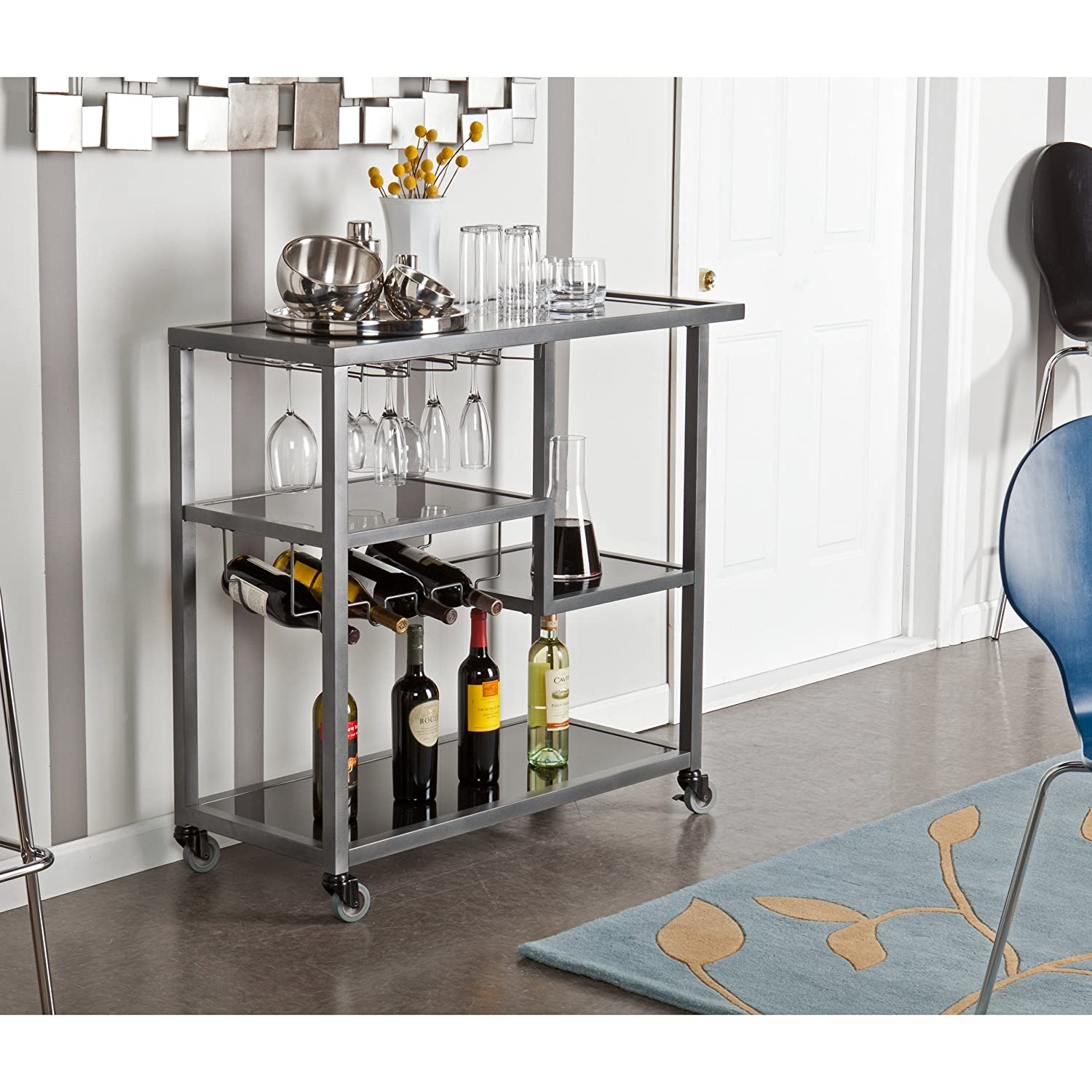 Holly & Martin Zephs Bar Cart, Gunmetal Gray Finish with Black Tempered Glass SEI HZ8810