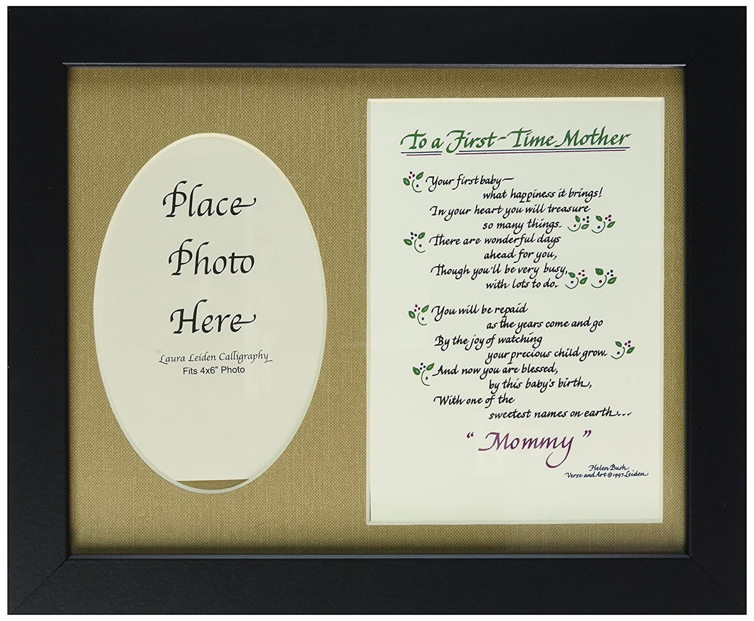 to A First Time Mother Poem Picture Frame 8x10 New Mom Gift Black Frame /& Burlap Mat Choose Your Mat Color and Frame