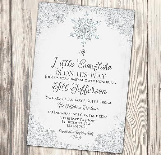 amazon com snowflake invitation winter baby shower invite a