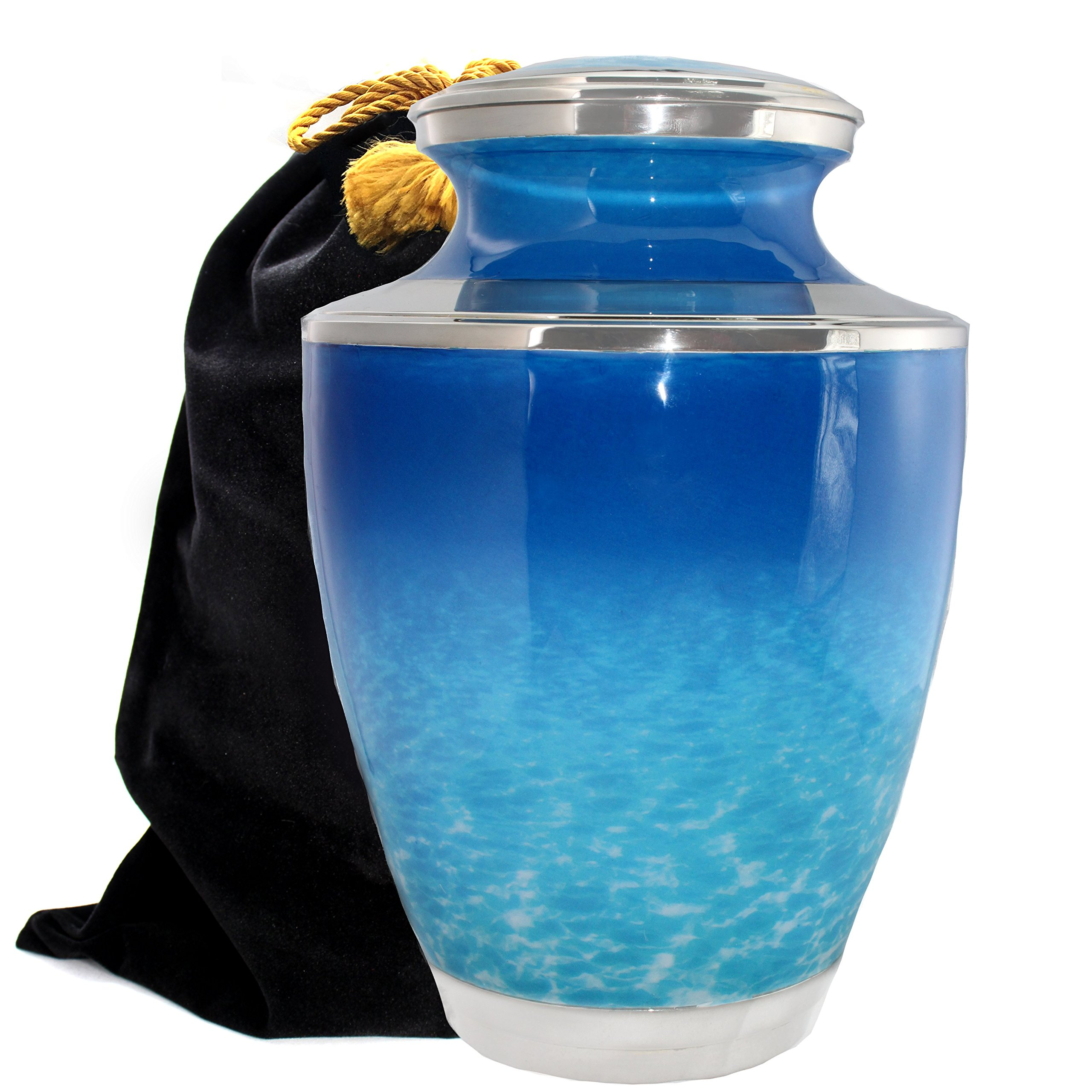 Ocean Tranquility - Cremation Urn for Human Ashes - Ideal for Funeral, Burial, Columbarium or Home - Adult/Large, Small Keepsake and Set of 4 (Ocean Tranquility, Large)