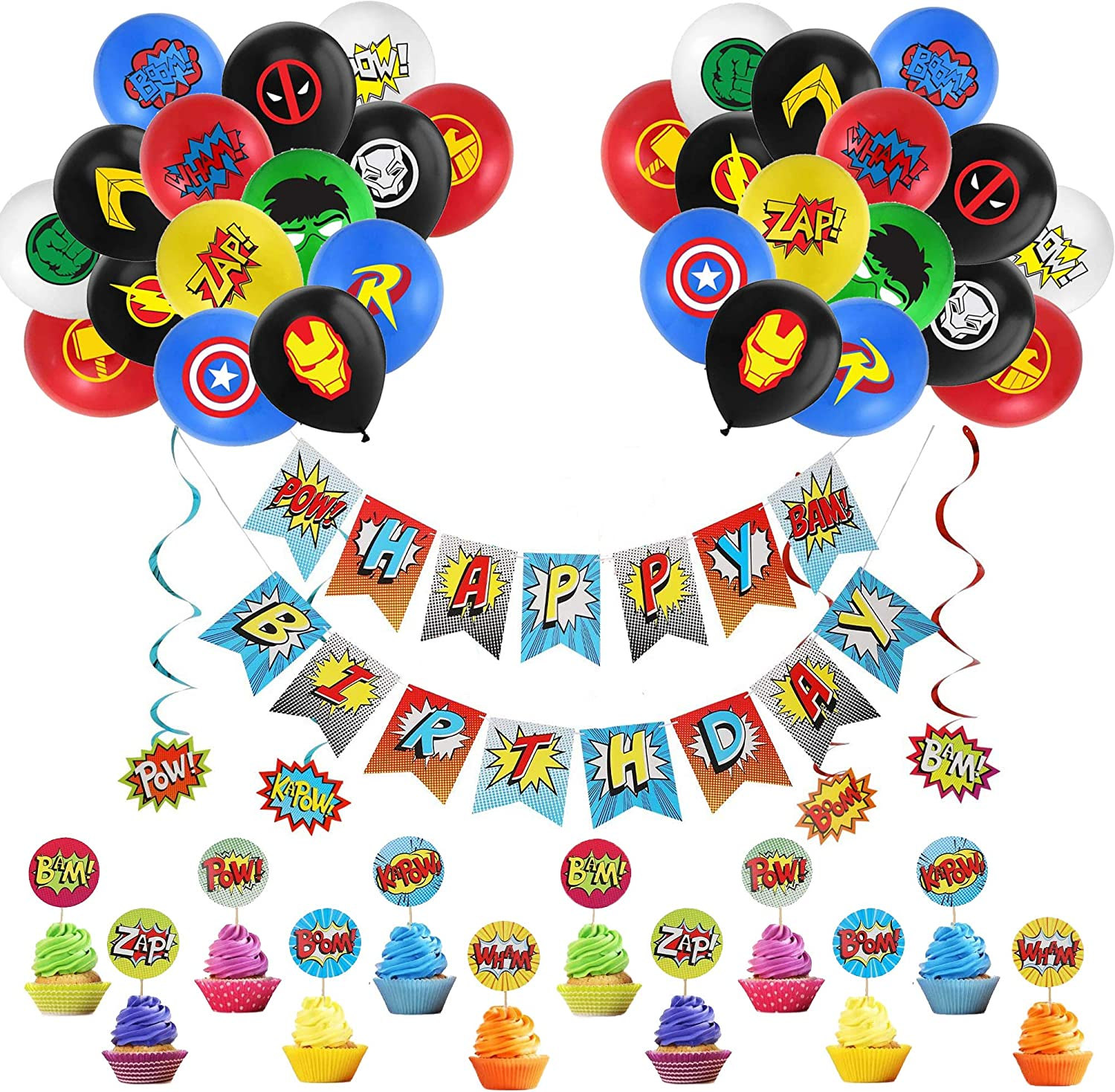 Superhero Cake Toppers Banner Superhero Hanging Swirl Decorations Balloons for Children Party Decoration Kids Birthday Party Decoration Supplies Superhero Avengers Party Supplies Decorations