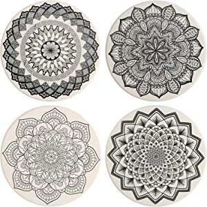 IPHOX Drink Coasters - Absorbent Stone Coasters Set with Cork Base, Avoid Scratching Furniture, Suitable for Kinds of Mugs and Cups, 4 Pack (Mandala style #1)
