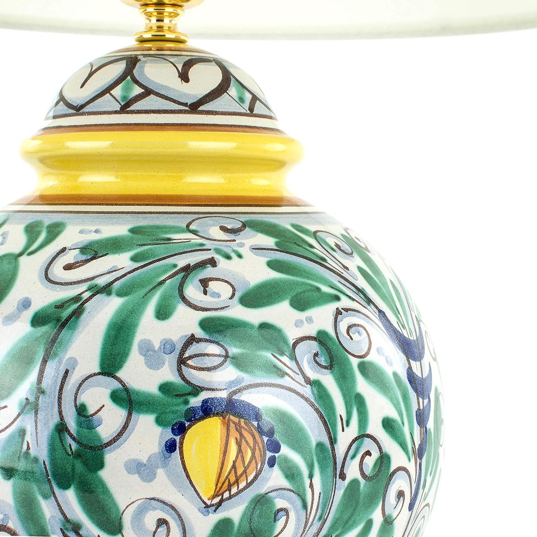 Lume Lampada In Ceramica Di Caltagirone Decorato A Mano Lampada Da Tavolo Artistica Amazon It Illuminazione