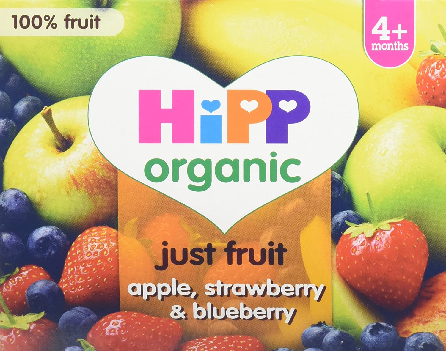 HiPP Organic Just Fruit Apple, Strawberry and Blueberry Fruit Pot 400 g (Pack of 6) GB5810.64