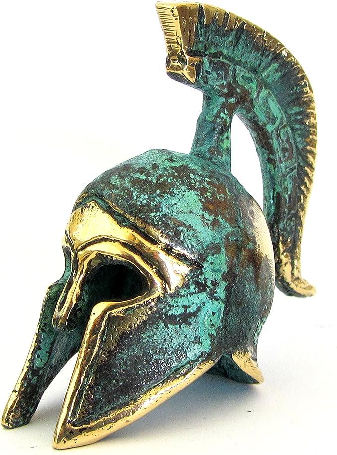 ANCIENT GREEK BRONZE MINIATURE HELMET GREEN GOLD OXIDIZATION 387