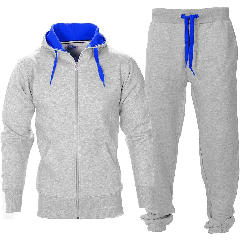 Mens Contrast String Fleece Hoodie Top Bottoms Joggers Gym Set Tracksuit