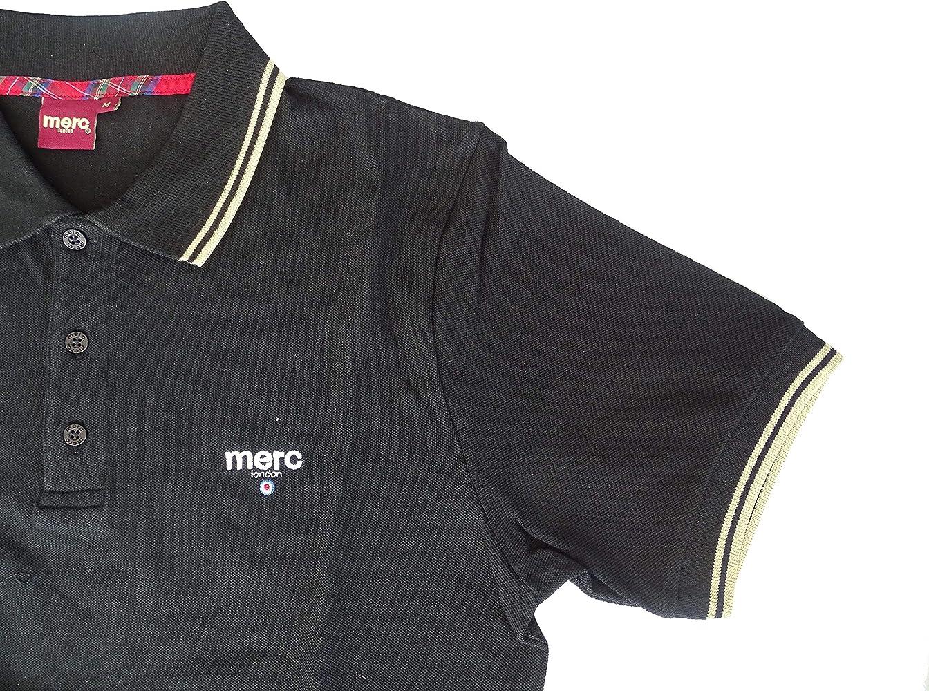 Merc Polo Camiseta para Hombre Men Manga Corta Negro Negro S ...