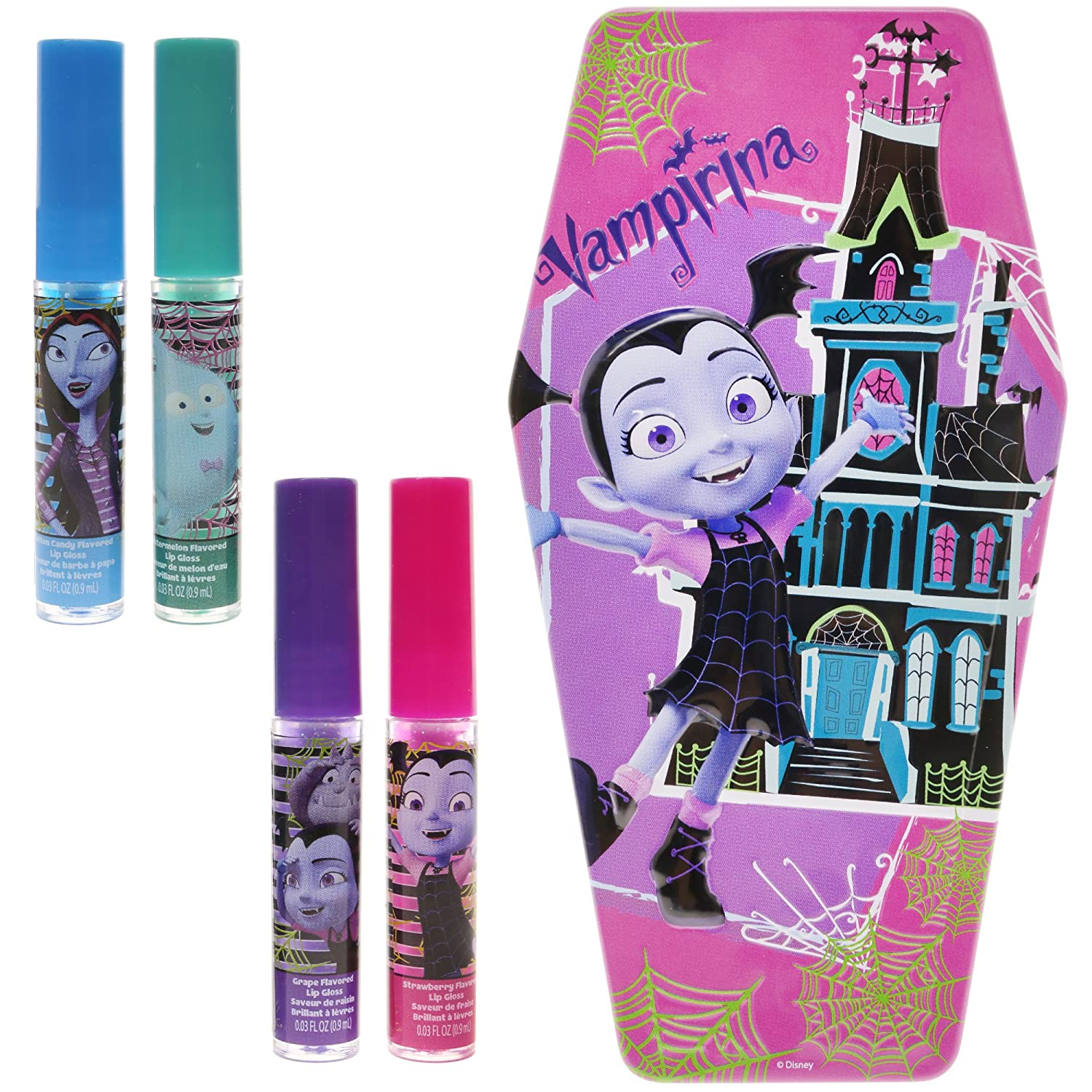 TownleyGirl Vampirina Super Sparkly Lip Gloss Set for Girls, with 4 Fruity Flavors and Decorative Coffin Case Townley Inc