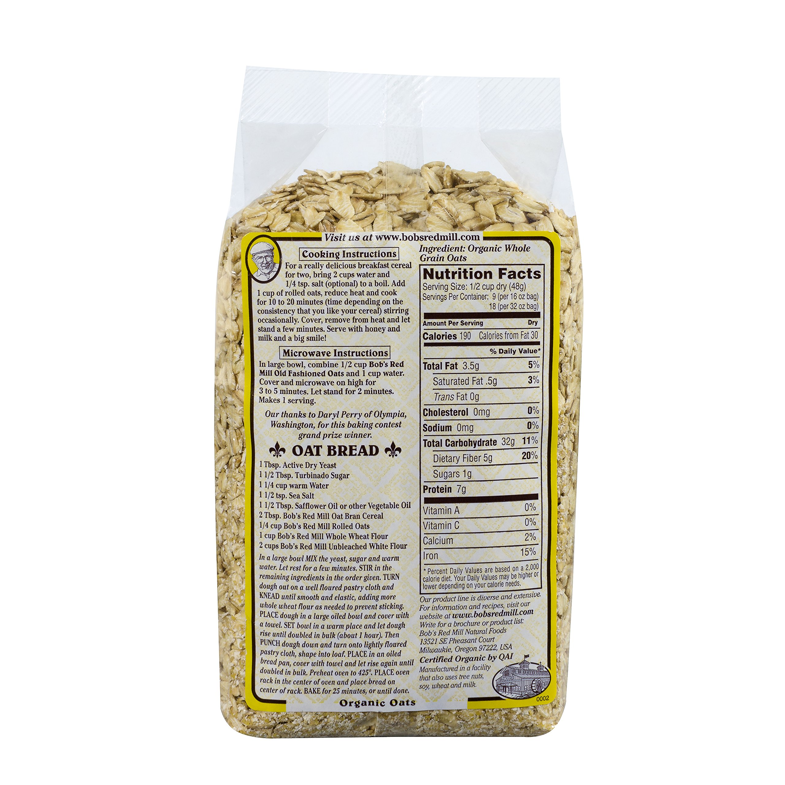 Bob's Red Mill Organic Extra Thick Rolled Oats, 16-ounce by Bob's Red Mill (Image #3)