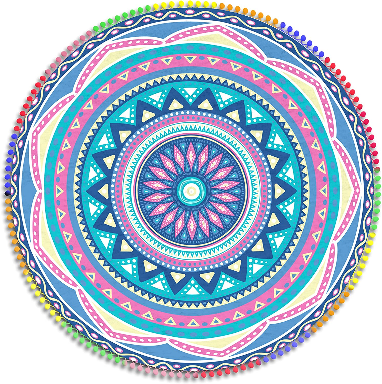 Manito Toalla Pareo Playa Mandala Doble Extra Grande 160 cm Microfibra Multicolor Redondo