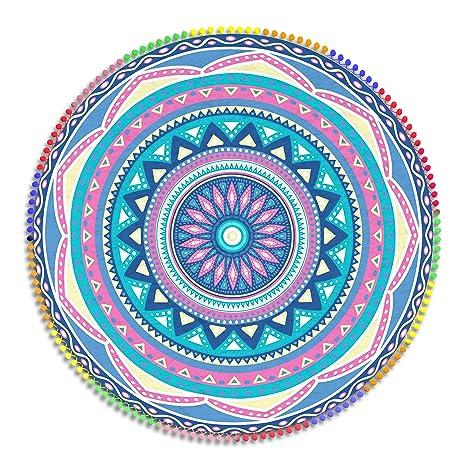 Manito - Toalla Pareo Mandala de Playa Redondo 160 cm. Microfibra. Mandala Doble Extra
