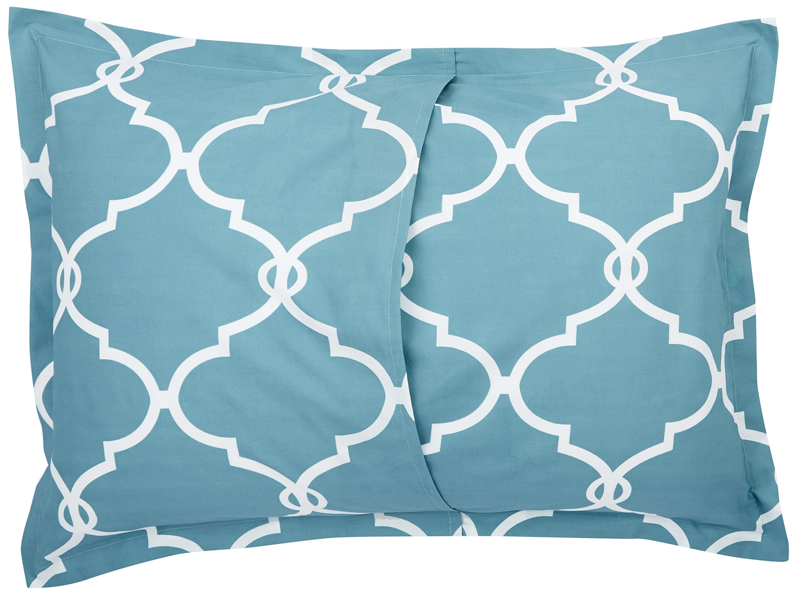 Pinzon 300-Thread-Count 100% Cotton Cool Percale Duvet Cover Set, Full/Queen, Spa Blue by Pinzon by Amazon (Image #6)