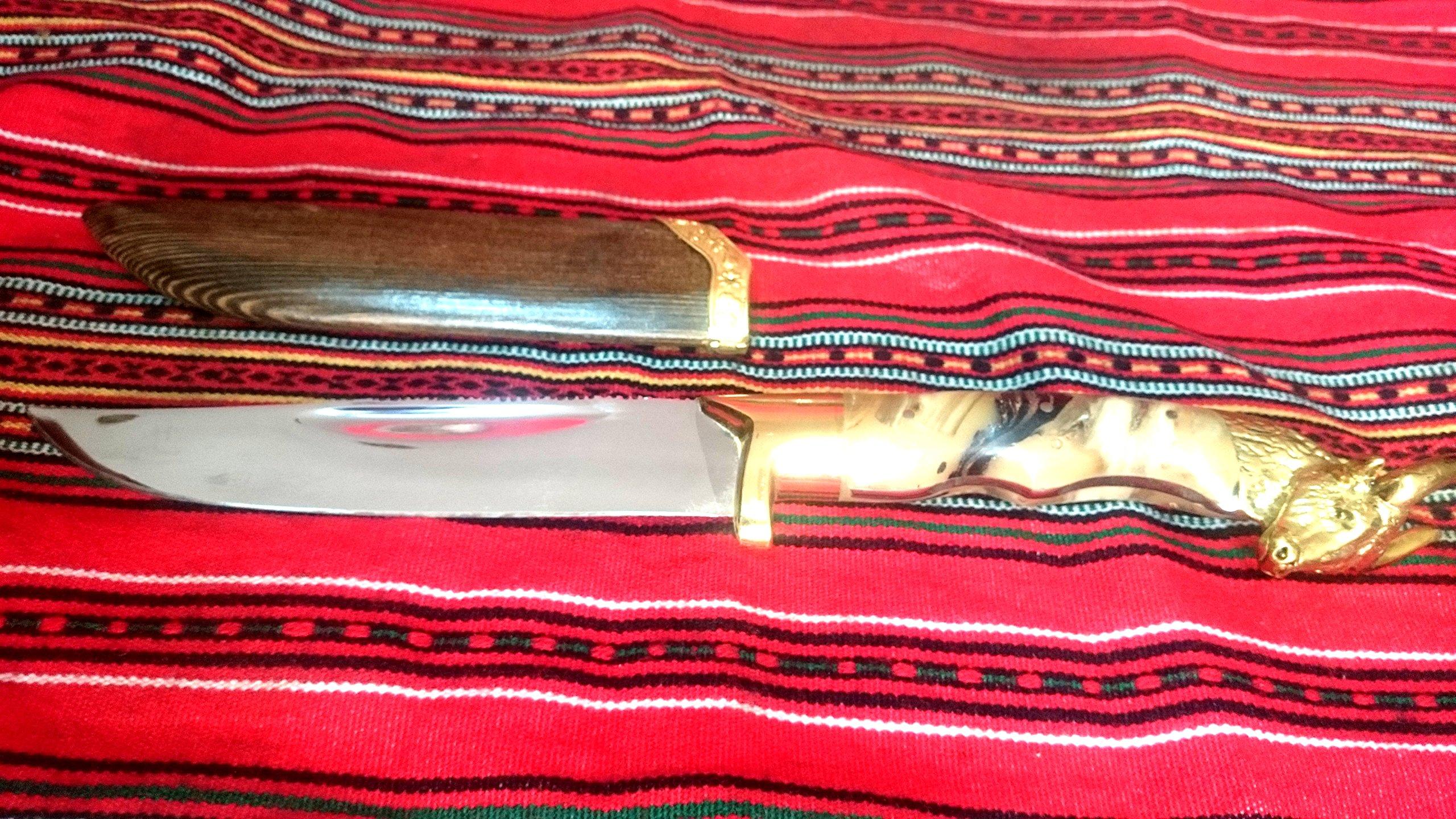 Palamianakis Knives FIXED BLADE, HANDMADE, KNIFE, HANDLE FROM HORN AND BRONZE MINOTAUR,VERY SHARP by Palamianakis Knives
