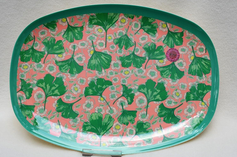 Rechteckiger Teller aus Melamin mit Blä tter und Blume Print von Rice DK