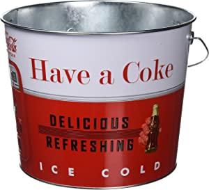 The Tin Box Company Coca Cola Large Beverage Bucket with Wire Handle