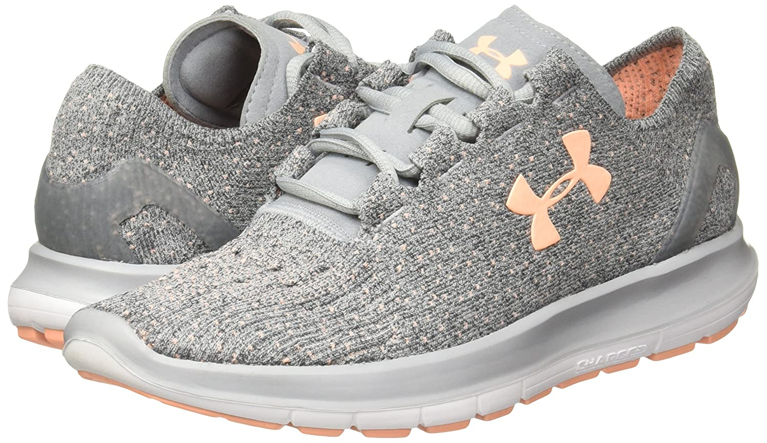 Under Armour Women's Speedform Slingride Tri Running Shoe, Overcast Gray/Glacier B(M) Gray/Marlin Blue B01GSRL50W 6 B(M) Gray/Glacier US|Overcast Gray/White/Playful Peach fca738