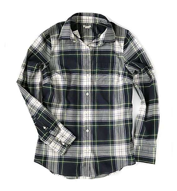 31366ed247c8c J Crew Factory Women s Plaid Button-Down Shirt Blue Gray  Amazon.ca   Clothing   Accessories