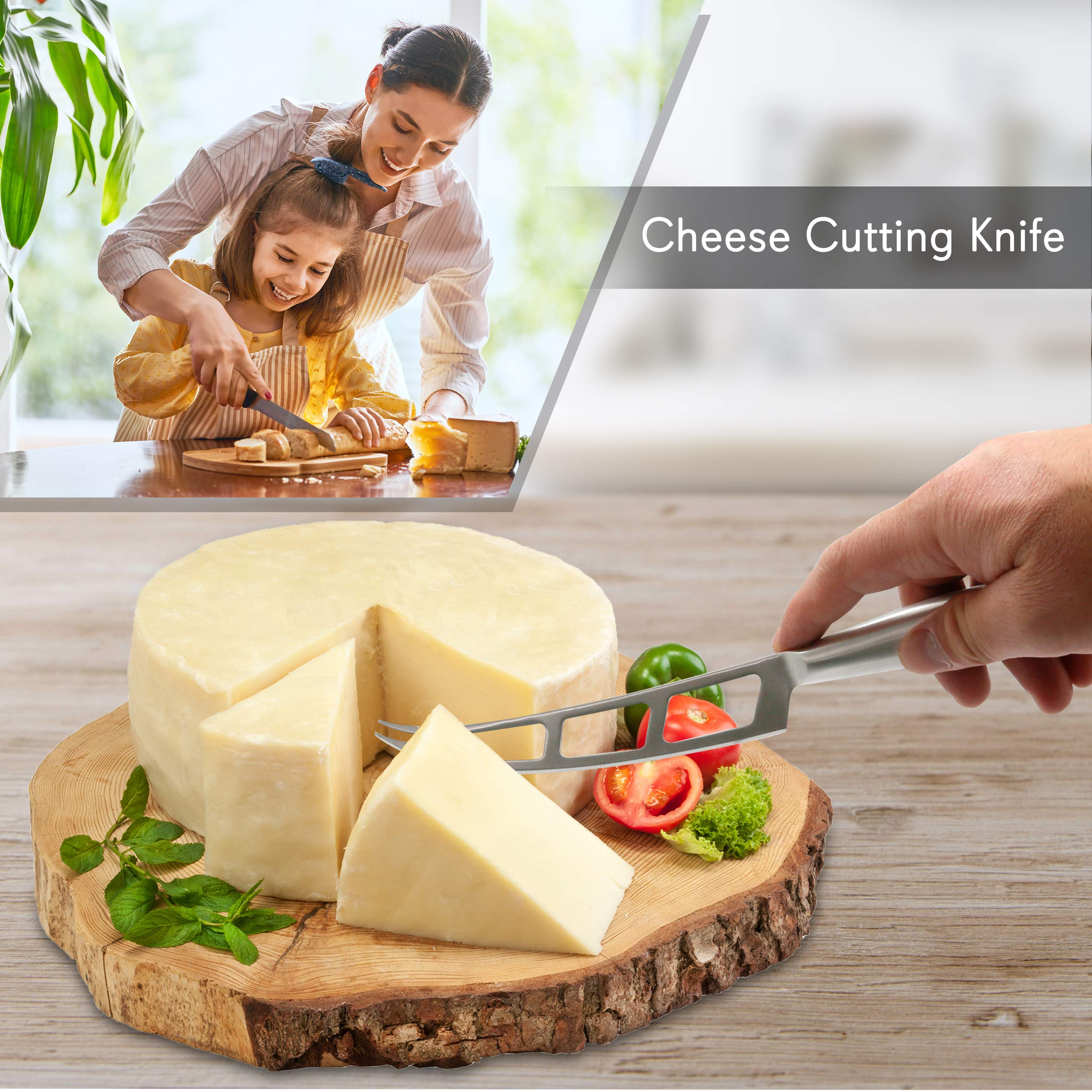 2 Piece Cheese Cutting Set - Portable Fancy Stainless Steel Non Stick Cheese Cutter Knife and Cheese Slicer - Cut, Shave, Slice, Serve, Spread - Gouda Blue Brie Parmesan Cheddar - NutriChef PKCNF10 by Nutrichef (Image #2)