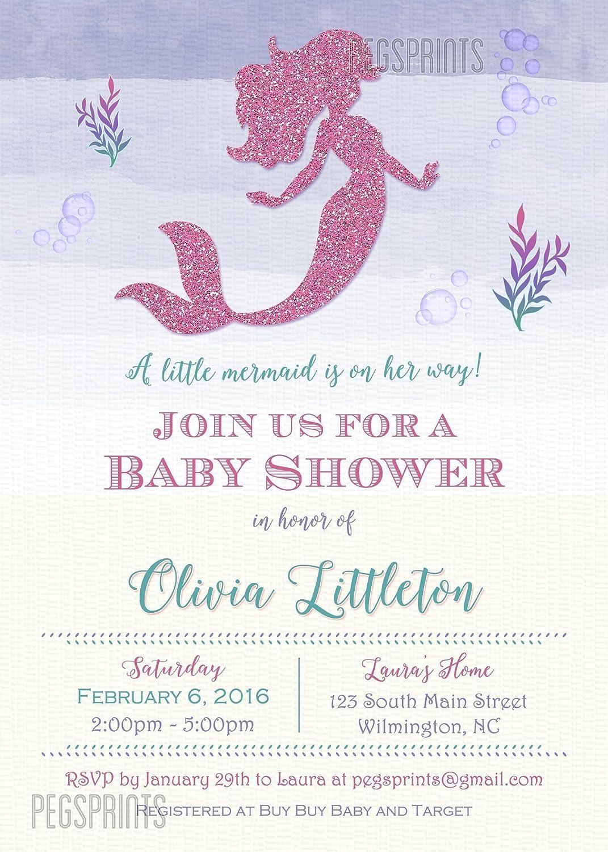 Amazon.com: Mermaid Baby Shower Invitation - Pink Glitter Mermaid ...