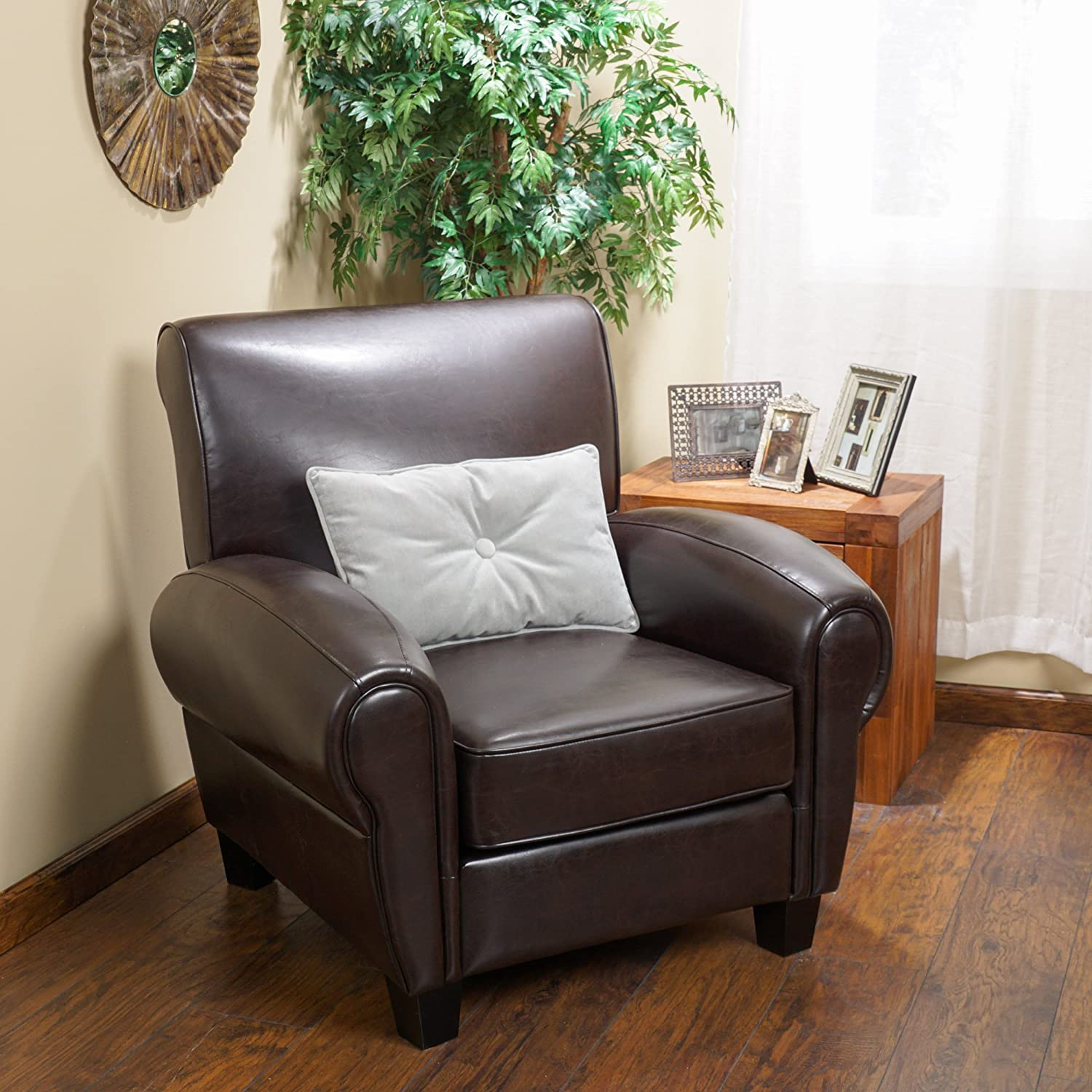 Bon Amazon.com: Christopher Knight Home 234124 Finley Bonded Leather Club Chair,  Brown: Kitchen U0026 Dining