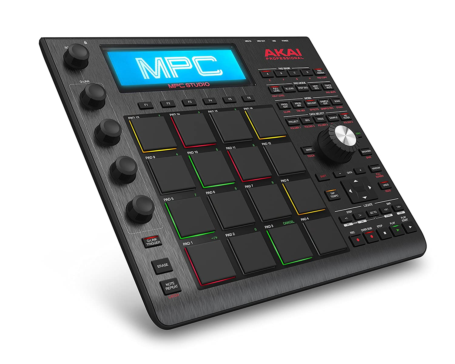 Akai Professional MPC Studio Black | Ultra-Portable MPC With MPC Software  (Download), USB Power, LCD Screen, Touch Sensitive Encoders, Brushed