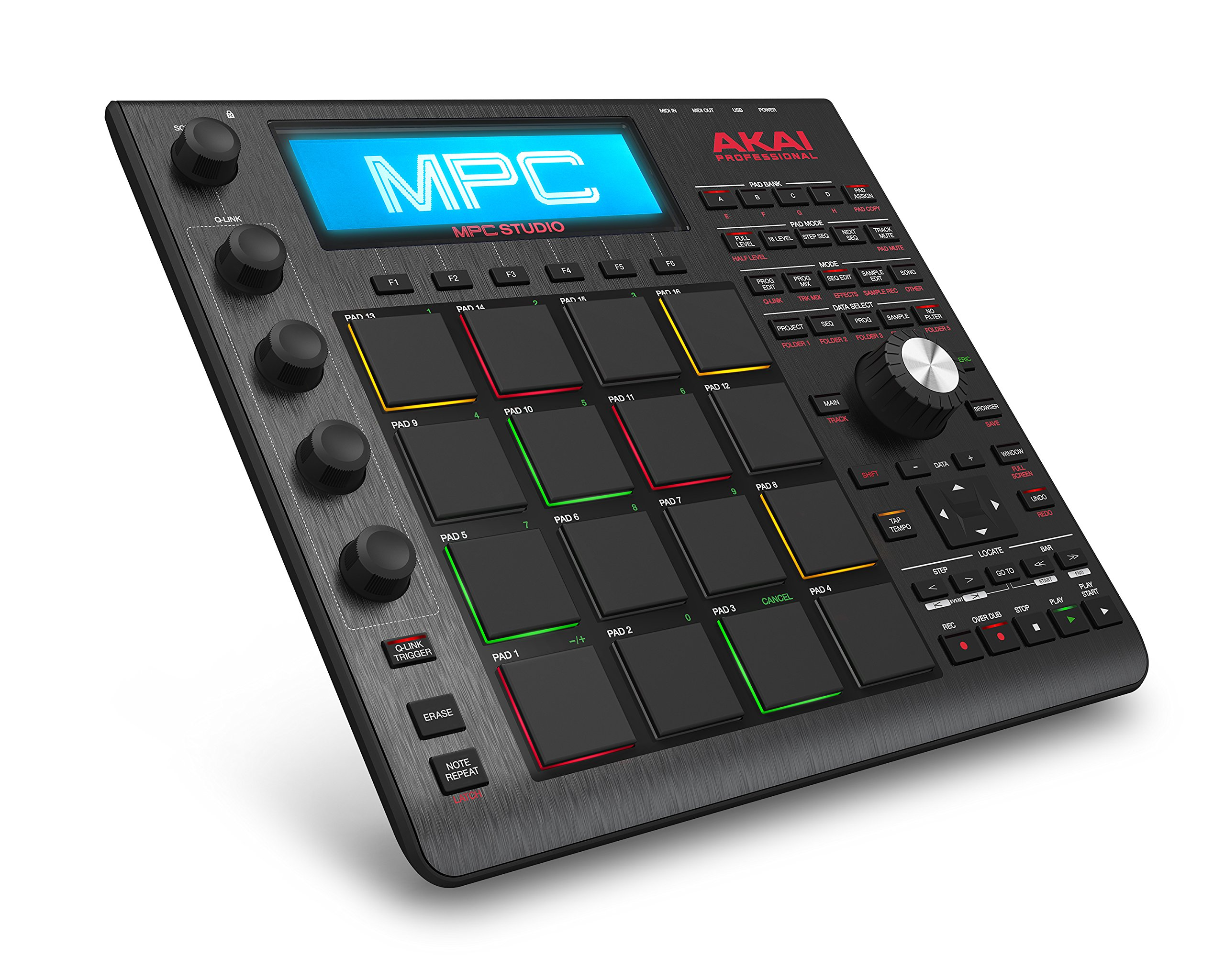 Akai Professional MPC Studio Black | Ultra-Portable MPC With MPC Software (Download), USB Power, LCD Screen, Touch Sensitive Encoders, Brushed Aluminium Body & Data Dial by Akai Professional