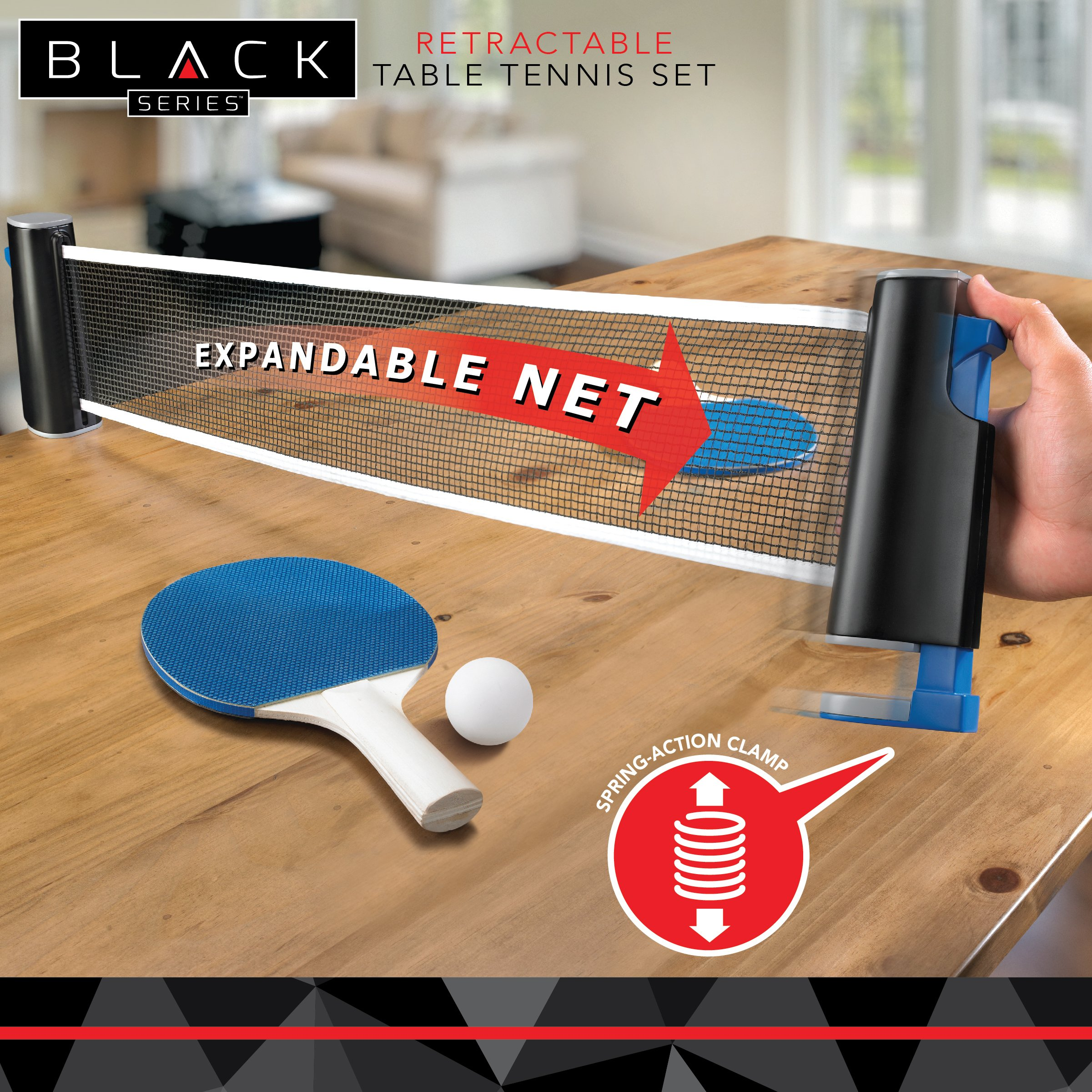 Black Series Retractable Table Tennis Ping Pong Equipment Set with  Paddle/Racket x2, Net and Post, Balls x3, Attaches to Any Dining Table Top,  for