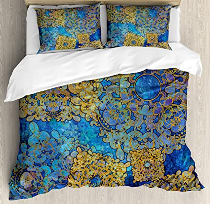 Bon Ambesonne Ethnic Duvet Cover Set, Traditional Persian Motif Oriental  Moroccan Effects Exotic Style Boho Design