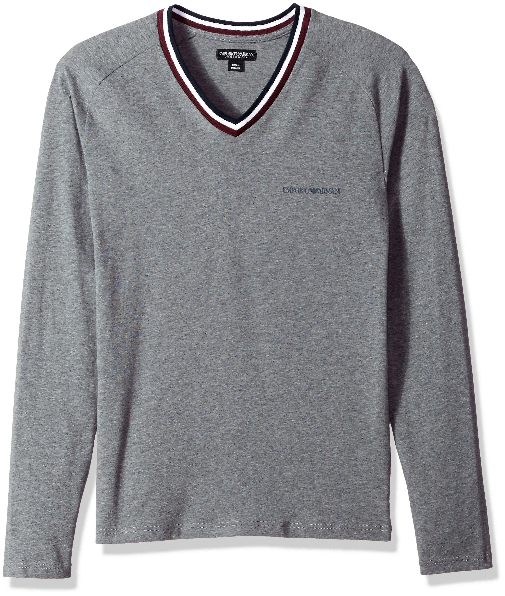 Emporio Armani Men's Rugby Player L/s Vneck T-Shirt, Dark Gray, L
