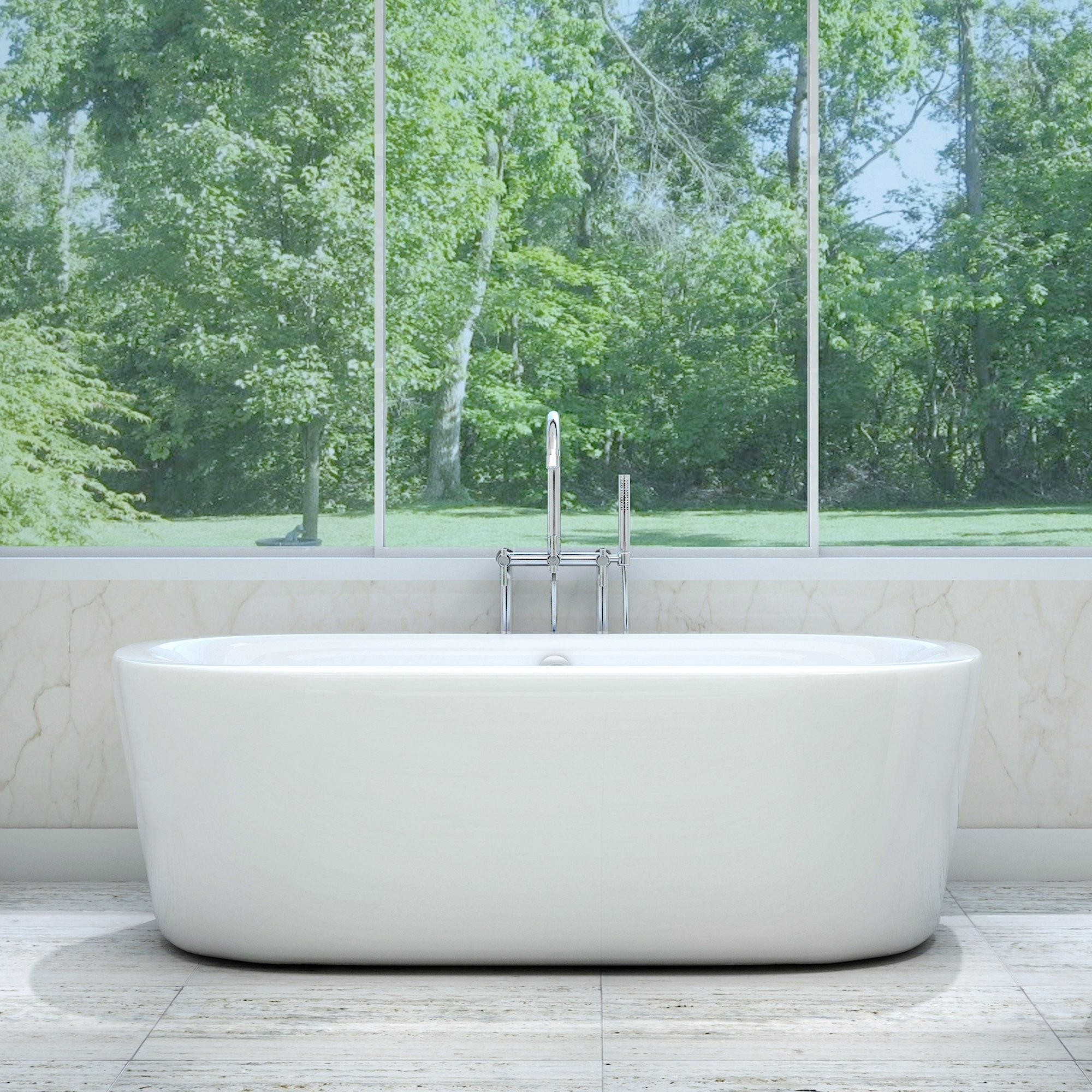 Luxury 67 inch Freestanding Tub with Modern Tub Design in White, Includes Full Apron and Polished Chrome Drain, from The Newcastle Collection