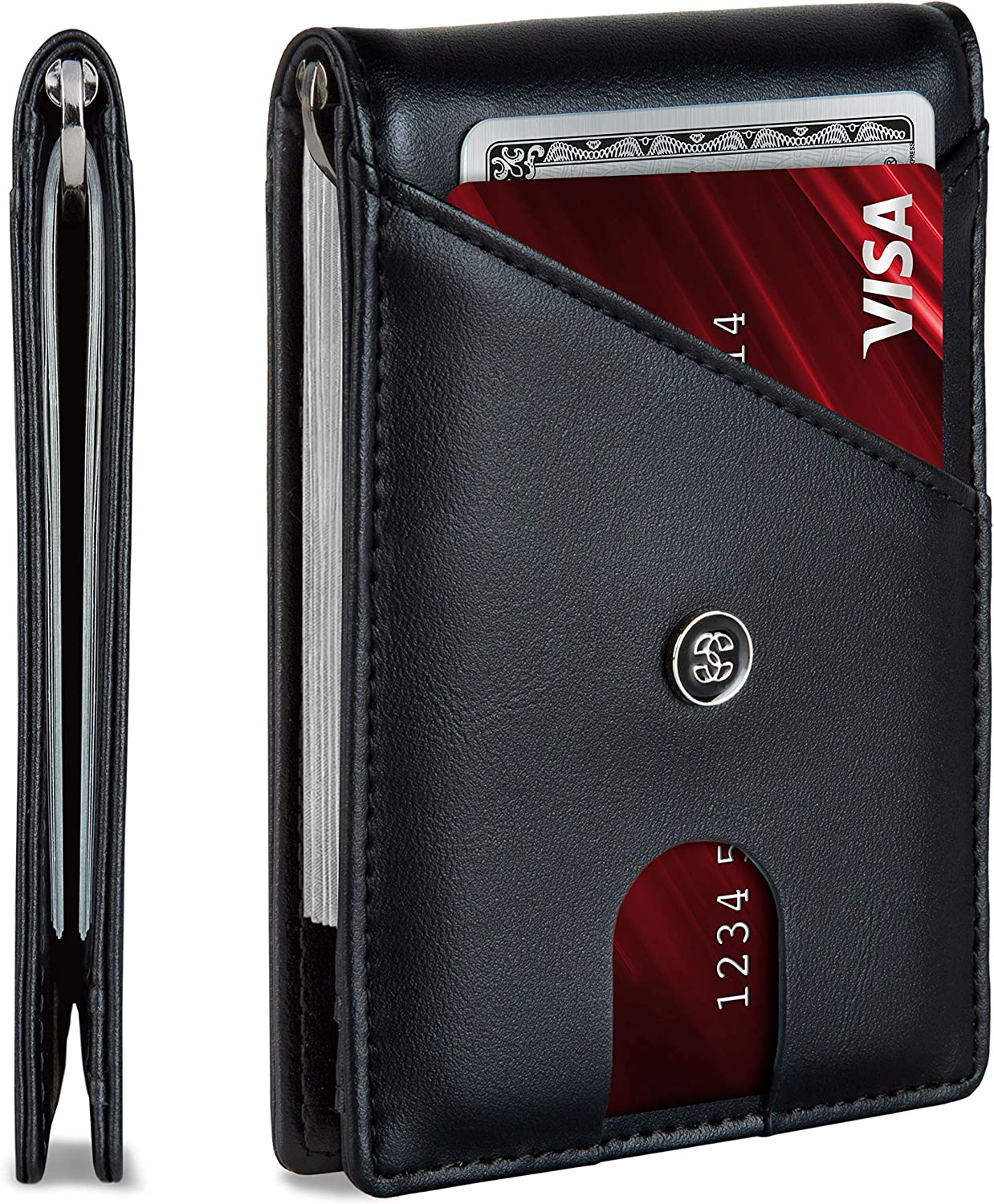 Leather Mens Wallet. Minimalist Wallet Credit Card Holder with Money Clip and RFID Wallet Protection. Slim Wallets Men Gifts