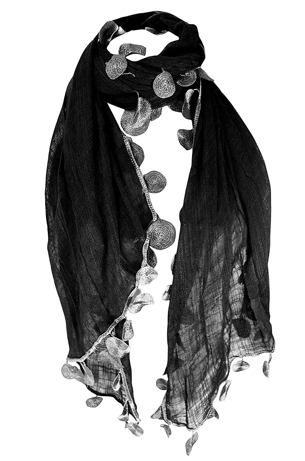 3f8182f93 Peach Couture All Seasons Chic Silk Feel Sheer Textured Scarf W/ Sphere  Tassels (Black) at Amazon Women's Clothing store: