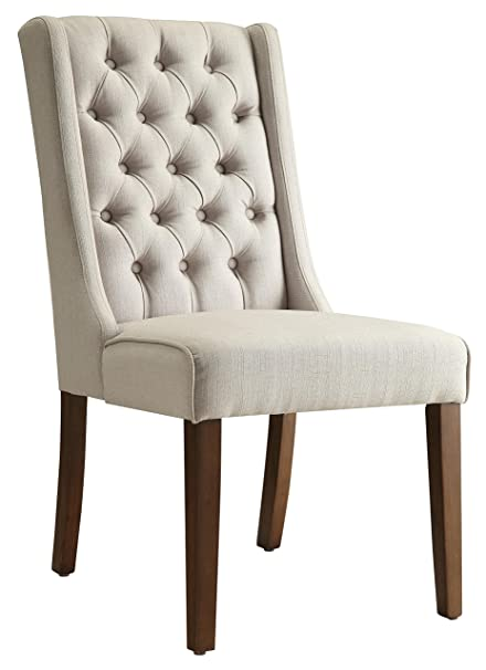 Amazoncom Coaster 902502 Co Tufted Back Dining Chair Brown Chairs