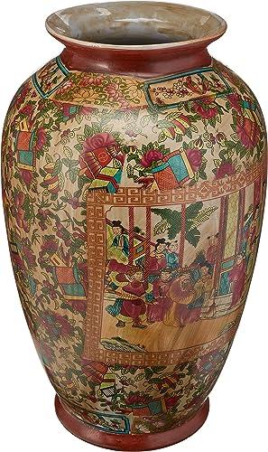 Oriental Furniture 14 Rose Medallion Porcelain Tung Chi Vase