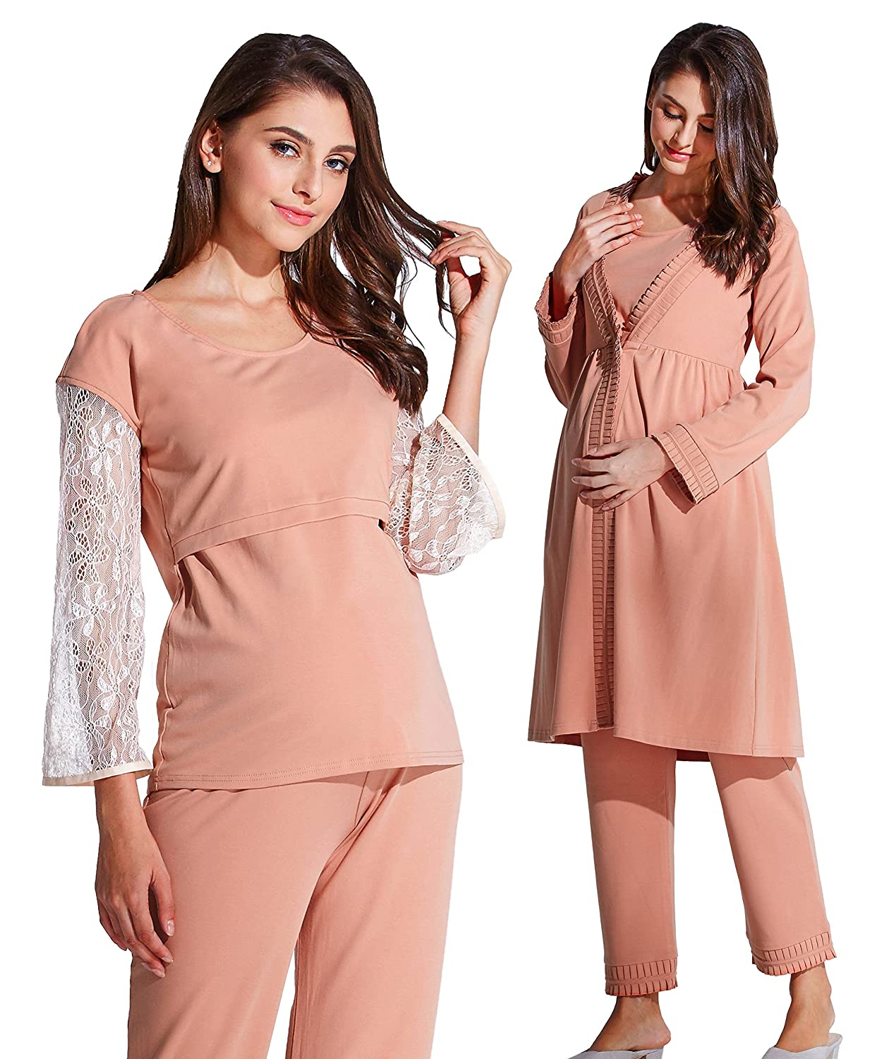Sweet Mommy Maternity and Nursing Cotton Pajama Set Robe Pants Top Sweet Mommy Co. Ltd sn7022