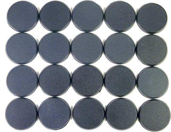 Value Pack of 10-50MM Round Black Miniature Model Bases for TableTop or Miniature WarGames
