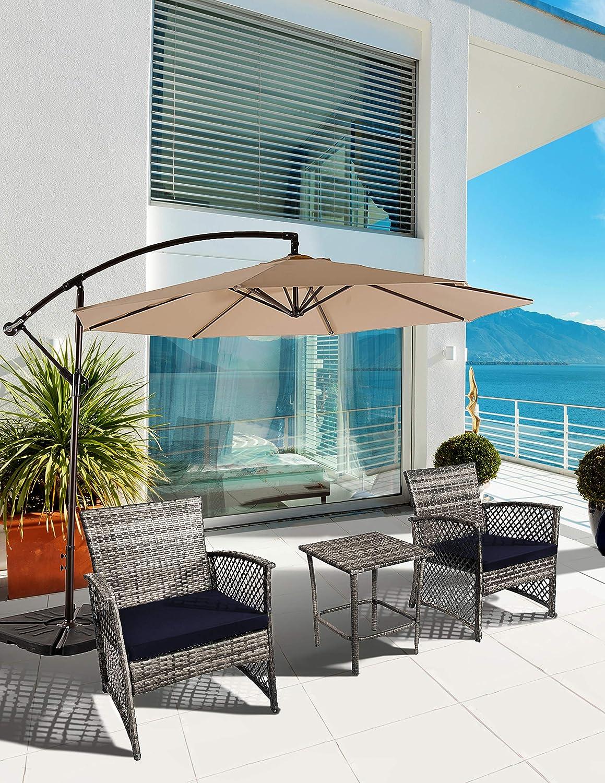 Bella 3PC Gray Resin Wicker (Navy Blue) Cushions with Table Garden Lawn Pool Backyard Outdoor Sofa Wicker Conversation Set
