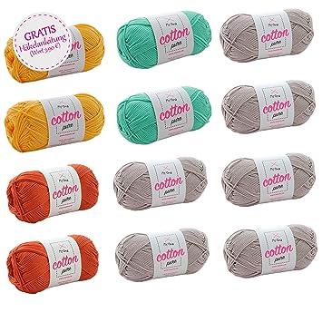 Wollset Baumwolle + GRATIS Häkelanleitung * Wollmix Savanne groß ...